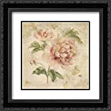Coral Rose on Antique Linen Light Gold 2x Matted 20x20 Black Ornate Framed Art Print by Blum, Cheri