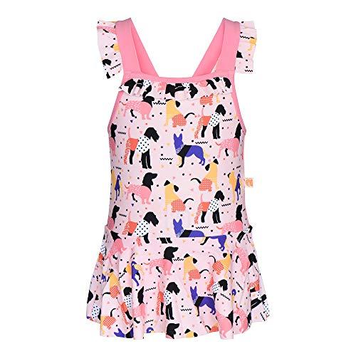 Miniatree Girls Kids Swim Bow Pleated Skirt UPF 50+ Sun Protection Swimwear Swimsuit Sunsuit (Pink, 6-7 T (120))