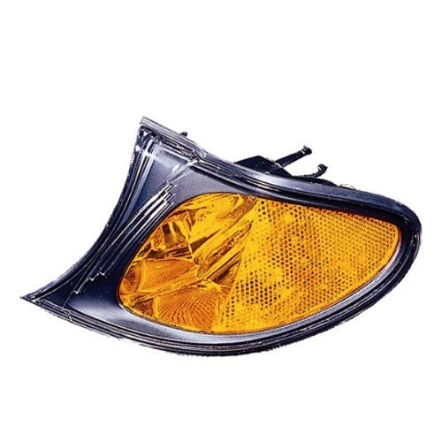 (2002-2003-2004-2005 BMW E46 3-Series 320i 325i 330i 4-Door Sedan & Wagon Corner Park Light Turn Signal Marker Lamp (with Amber Lens & Black Bezel) Left Driver Side (02 03 04 05))
