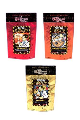 Atomic Extra Caffeine Coffee Variety Pack with 50% Extra Caffeine, Ground, 8 oz. (3 Pack) ()