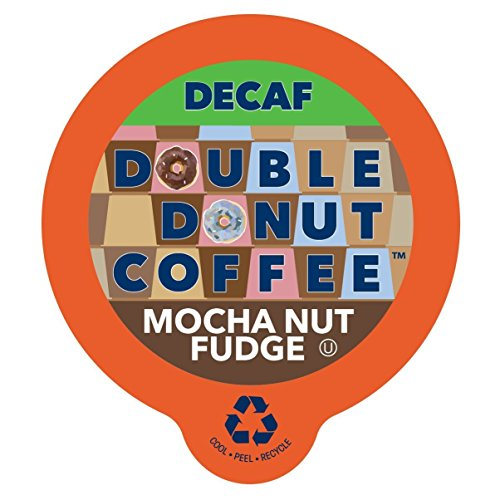 Double Donut Coffee Decaf Mocha Nut Fudge Flavored Coffee Single Serve Cups For Keurig K Cup Brewer (24 Count)