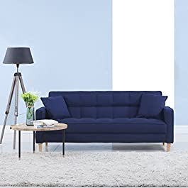 DIVANO ROMA FURNITURE Modern Linen Fabric Tufted Small Space Living Room Sofa Couch