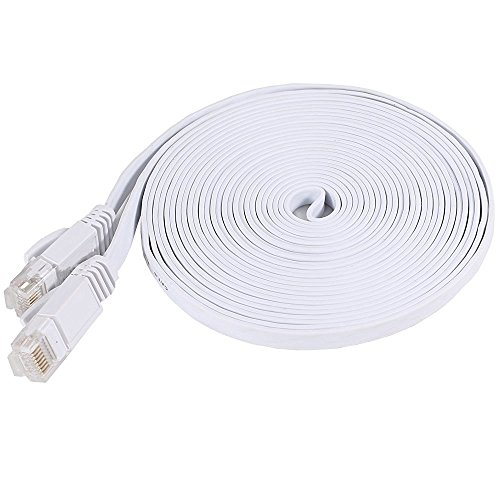 Utp Cat5 Flat Cable - Net_Cafe Weatherproof Flat Cat 6 (Cat6) Ethernet Cable, RJ45 Connector, 32AWG, Up to 1.0 Gbps and 250 MHz (15Ft, White)