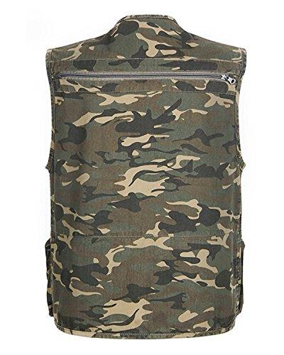 Outdoor Reporter Caccia Uomo Camuffamento Smanicato Zip Vest Army Casuale Gilet Fotografi Vdual Multitasche Green Con Pesca Per wAp8Xz8qn