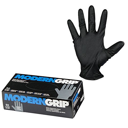 Modern Grip 18195-L Nitrile 8 mil Thickness Premium Disposable Heavy Duty Gloves - Industrial and Household, Powder Free, Latex Free, Diamond Textured for Superior Grip - Black - Large (50 count)
