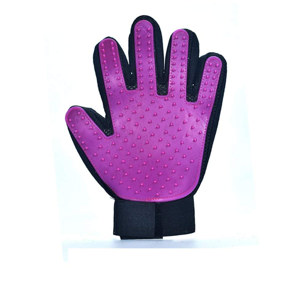 Chongwushua Pet Grooming Glove, Pet Hair Removal Mitts Massage Brush Tool with Adjustable Wrist Strap for All Short and Long Hair Pets (Color : Purple, Size : Left)