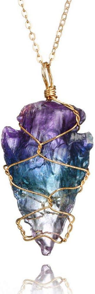 FyaWTM Collar Colgante Colorido Arco Iris Piedra Cristal Natural Collar de Roca joyería Popular Adornos de Moda Collares Pendientes