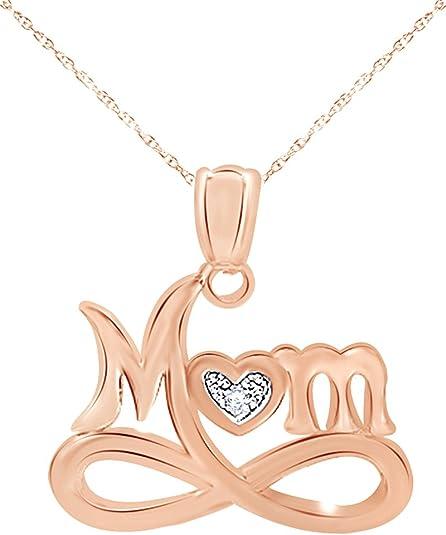 MOM HEART STONE CUT 14K ROSE GOLD FN 925 STERLING SILVER VALENTINE GIFT PENDANTS