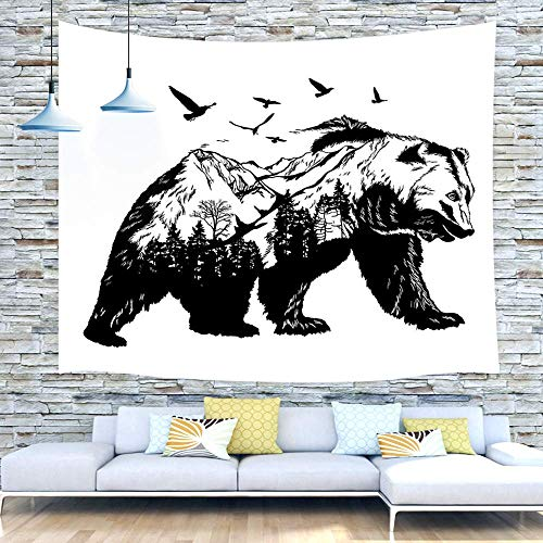 Bear Tapestry Wall Hanging, Hand Drawn Bear Double Exposure with Forest Trees Birds Concept Art Lodge Tapestry Wall Decor 71X60 Inches Art Tapestries for Bedroom Living Room College Dorm, White - Birds Hanging Wall Tapestry