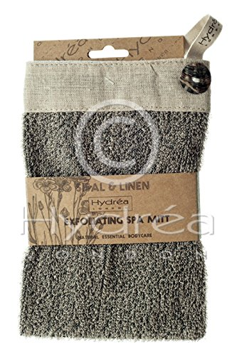Hydrea London Natural Charcoal Sisal & Linen Exfoliating Square Wash Mitt BEMT09