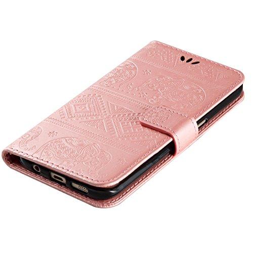 Ukayfe Flip funda de cuero PU para Samsung G935 Galaxy S7 edge, Leather Wallet Case Cover Skin Shell Carcasa Funda para Samsung G935 Galaxy S7 edge con Pintado Patrón Diseño, Cubierta de la caja Funda Elefante-Oro rosa