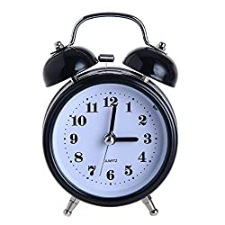 Alarm Clock, DONEE 3 Silent Bedside Desk Wind up Alarm clock for kids bedrooms and Heavy Sleepers, Cute No Ticking Bell Loud Alarm with Nightlight