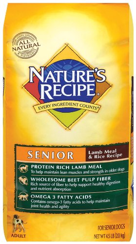 Nature's Recipe Senior Lamb Meal and Rice Dry Dog Food, 4.5-Pound