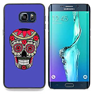 - Purple Pattern Floral Skull Death - - Snap-On Rugged Hard Cover Case Funny HouseFOR Samsung Galaxy S6 Edge Plus