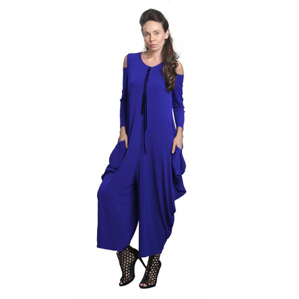 IC Collection Cold Shoulder Jumpsuit In Cobalt Plus Size Available 8419 (Small)