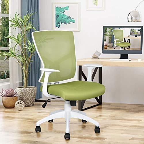 FurnitureR Silla de Oficina Moderna Sillas de Escritorio para Computadoras con Espaldar Alto con Reposa Brazos con PP para casa u Oficina Verde&Blan