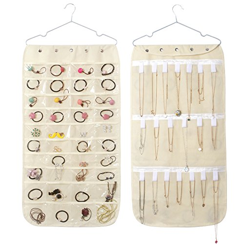 Caroeas Jewelry Organizer, Hanging Jewelry Oganizer Dual-Sided Storage Bag Over The Door Jewelry Organizer Foldable Closet Jewelry Organizer for Rings, Bracelet, Earrings, Necklace (Beige)