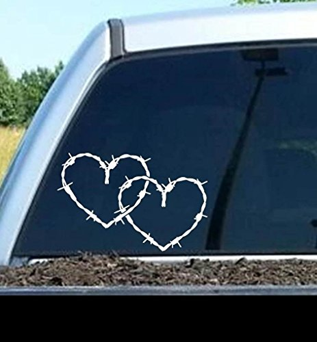 A1126 Barb Barbed Wire Hearts Decal Sticker for SUV Car Truck SUV Van Horse Barn Window Mirror Laptop Wall Tractor Art (Barbed Decals Wire)