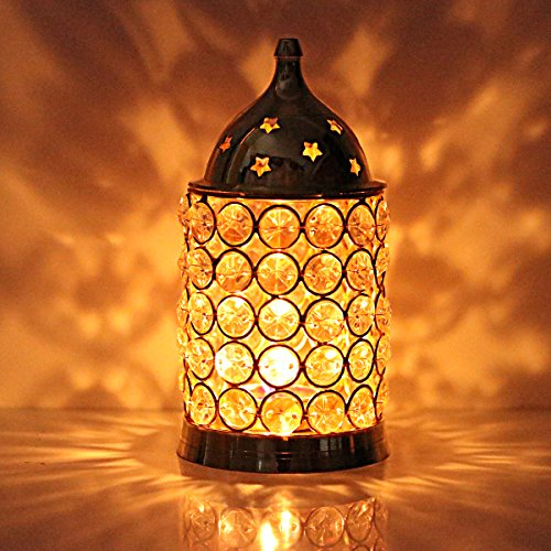 Hashcart Decorative Brass Crystal Diamond Tea Light Candle Holder Lantern Straight Diwali Candles
