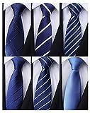 Weishang Pack of 6 Men's Classic Tie Silk Necktie Woven Jacquard Neck Ties (Set 10)