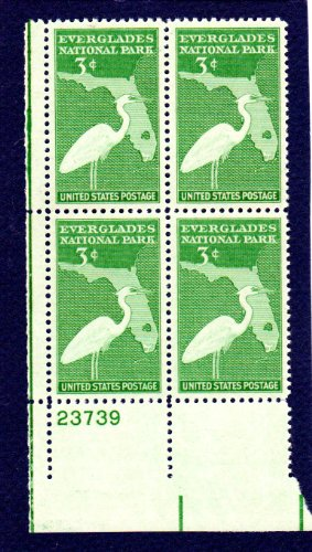 Postage Stamps United States. Plate Block #23739 of Four 3 Cents Bright Green, Great White Heron & Map of Florida, Everglades National Park Issue, Stamps Dated 1947, Scott #952.