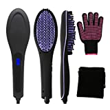 Hair Straightening Brush - 3 in 1 Fast and Easy Hair Straightener with Heat Resistant Glove