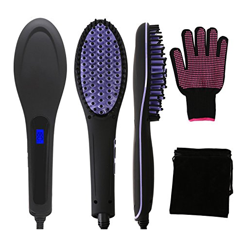 Hair Straightening Brush - 3 in 1 Fast and Easy Hair Straightener with Heat Resistant Glove by YCM