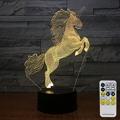 FlyonSea Unicorn gifts Night Lights for Kids 7 Colors Change with Remote Kids Night Light optical illusion Lamps for Kids Lamp As a Gift Ideas for Boys or Girls