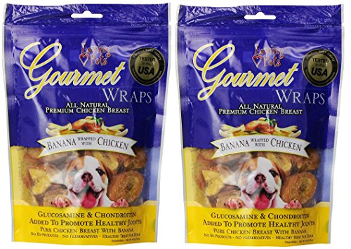 - Loving Pets (2 Pack) All Natural Premium Banana and Chicken Wraps with Glucosamine and Chondroitin Dog Treats, 6 oz
