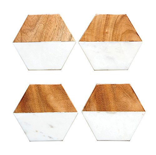Creative Co-Op DA6336 Set of 4 Marble & Mango Wood Hexagon Coasters