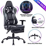 Blue Whale Massage Gaming Chair - High Back Racing Computer Desk Office Chair Swivel Ergonomic Executive Leather Chair with Footrest and Adjustable Armrests, Gray