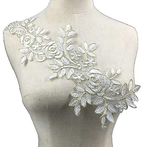 Polyester White Floral Lace Collar Fabric Trim DIY Embroidery Lace Fabric Neckline Applique Sewing Craft