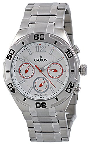 Croton Mens Stainless Steel Watch (Mens Croton Stainless Steel Large Multifunction 3 Eye Black Dial Watch Ca3012721ssl)