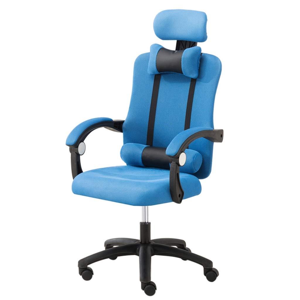 SUNHAI Computer Chair Home Office Chair/Ergonomic Footrest Recliner/Casual Boss Seat Lift Meeting Turn Chair (mesh) (Color : Blue, Size : A)