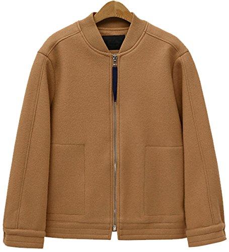 Chouyatou Women's Fashion Band Collar Full Zip Wool Blend Short Baseball Jacket (Khaki, Medium) (Jacket Wool Zip Short)