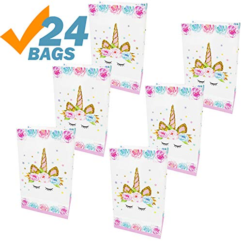 Unicorn Party Bags for Kids Birthday Unicorn Party Favor Bags for Girls, 24 Pack -
