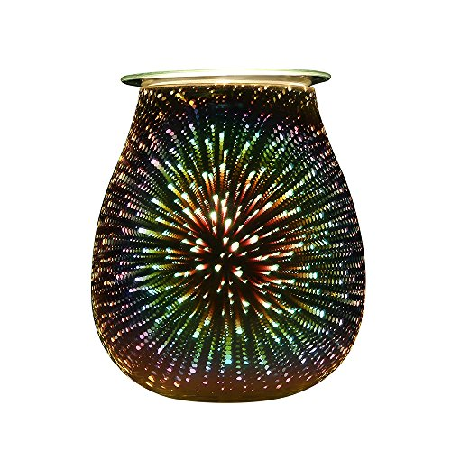 COOSA 3D Effect Starburst Fireworks Electric Oil Warmer Beautiful Glass Incense Wax Tart Burner Starburst Fragrance Candle Wax Warmer Night Light Aroma Decorative Lamp with 3D Effect for Gifts, Decor