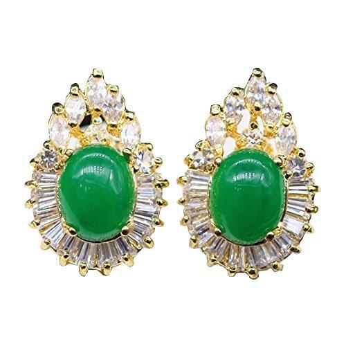 Jinyao Cubic Zirconia Jade Earring 24K Gold Plated Emerald Stud Earrings Engagement