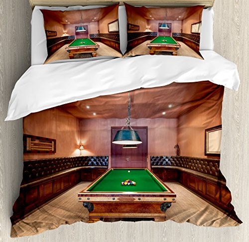 Ambesonne Modern Duvet Cover Set King Size, Entertainment Room in Mansion Pool Table Billiard Lifestyle Photo Print, Decorative 3 Piece Bedding Set with 2 Pillow Shams, Cinnamon Brown Green