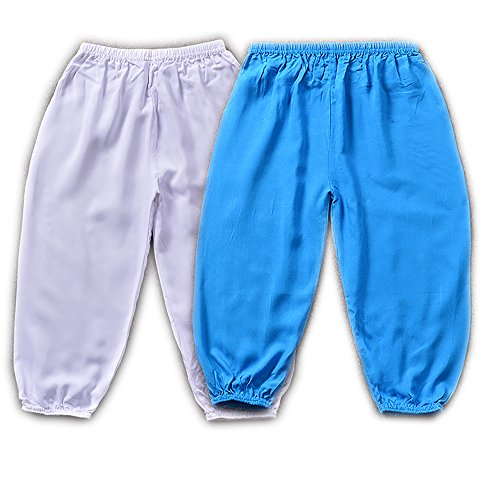 Price comparison product image (1 Pack OR 2Packs)Flowerfox Unisex Yoga Palazzo Dance Beach Casual Harem Pants for girls boys kids (6-8Years/80(Suitable height:49-53.5IN), 2Packs-Blue White)