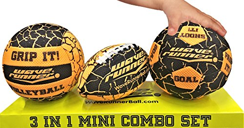 Wave Runner Grip It 3 in 1 Pool and Beach Toy Styles Mini Football, Mini Volleyball and Mini Soccer Size Range from 6 in to 7 in with Sure Wet Grip Technology Skip or Bounce on Water (Orange) - Waterball Toy