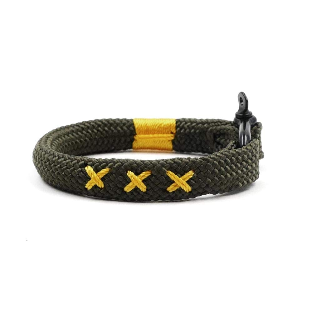TTHER Olive Green Nautical Braided Bracelet Hand-Made Yachting Rope Military Paracord Bracelet Wristband W/D-Shackle BRT-N513 Nautical Rope Fence by TTHER