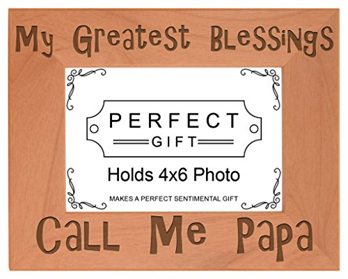 ThisWear Blessings Call Me Papa Natural Wood Engraved 4x6 Landscape Picture Frame Wood