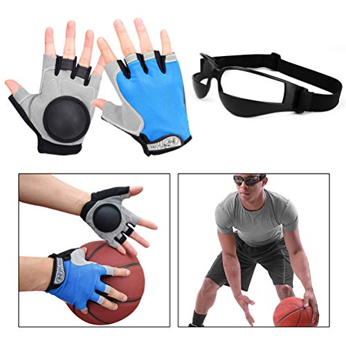 Haploon Basketball Dribbling Glasses No Look Eye Goggles Dribble Specs and Dribble Gloves Finger Training Anti Grip Basketball Gloves for Youth Adults, Enhanced Dribbling and Finger Control Ball - Dribble Gloves