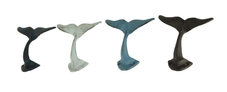 Zeckos Colorful Cast Iron Whale Tail Wall Hooks Set of 4
