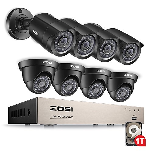 ZOSI CCTV System H.264 8CH HD-TVI 1080N DVR Recorder 4x 1280TVL 720P Waterproof Bullet Camera + 4x Indoor Outdoor dome Camera CCTV System Security Camera System DVR Kit with 1TB Hard Drive