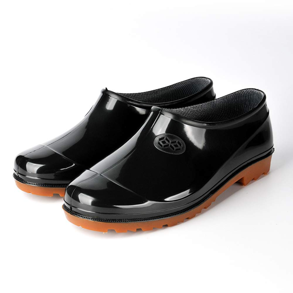 Giow Low-Cut PVC Rain Boots, Men's Work Rubber Shoes Non-Slip Waterproof Acid and Alkali Kitchen Site Labor Insurance,39