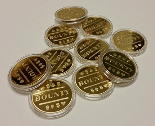 10x Bounty Poker Chip Gold Clad for Bounty Tournaments / Card Protector by QuEmpire