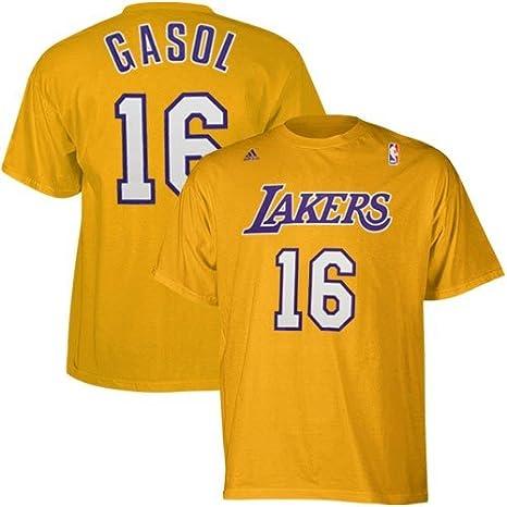 NBA Los Angeles Lakers PAU Gasol Nombre & número Camiseta, Hombre, Amarillo: Amazon.es: Deportes y aire libre