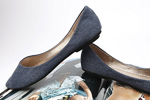 Plaid&Plain Womens Plain Denim Pointed Toe Slip On Shallow Mouth Pumps Flats Shoes Blue 95ofd
